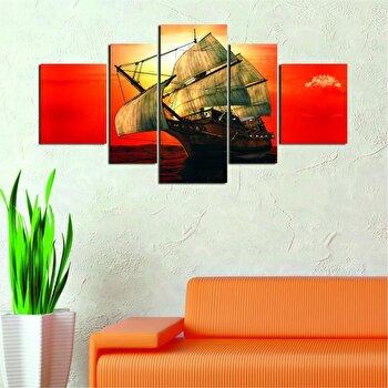 Tablou decorativ Multicanvas Allure, 5 Piese, 221ALL1996, Multicolor elefant