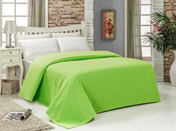 Cuvertura pentru pat single Bella Carine by Esil Home, 100 procente bumbac, 158ESH5111, 160 x 240 cm, Verde imagine