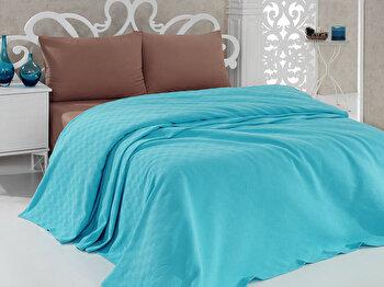 Cuvertura dubla Bella Carine by Esil Home, din bumbac 100 procente, 158ESH5202, 200x240 cm, Albastru imagine 2021