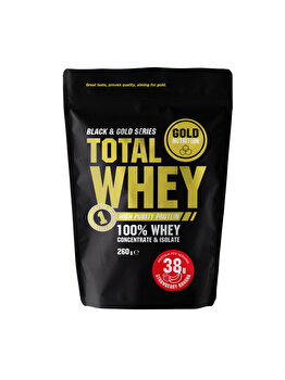 Total Whey, GoldNutrition, capsuni si banane, 260 g de la GoldNutrition