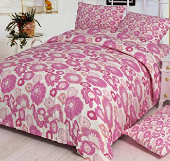 Lenjerie de pat dubla Heinner VN-4BEDYX60-DAISY, 4 piese, din microfibra, roz, 220 x 240 cm imagine