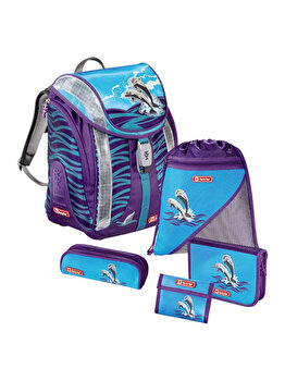 Step by Step Junior - Set Ghiozdan Happy Dolphins, 5 piese