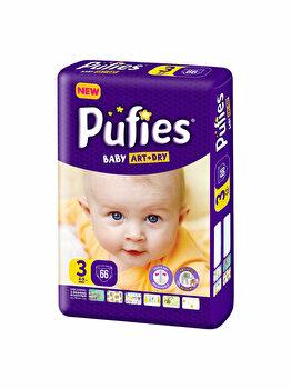 Scutece Pufies Baby Art 3 Midi Maxi Pack, 66 buc