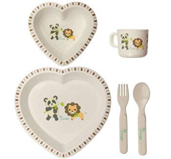 Set cina pentru bebelusi Panda si Leu in forma de inima Bo Jungle