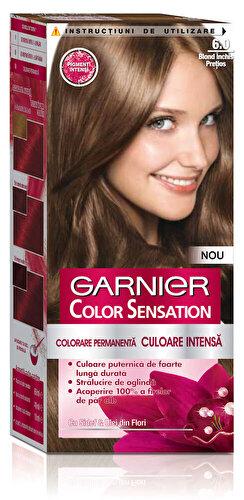 Vopsea de par permanenta cu amoniac Garnier Color Sensation cu pigmenti intensi 6.0 Blond Inchis Pretios