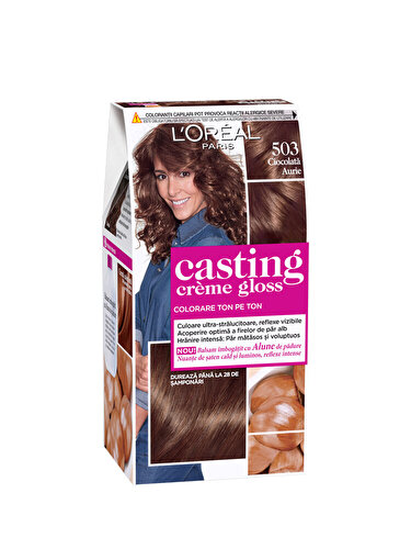 Vopsea de par semi-permanenta fara amoniac L'Oréal Paris Casting Creme Gloss 503 Ciocolata aurie