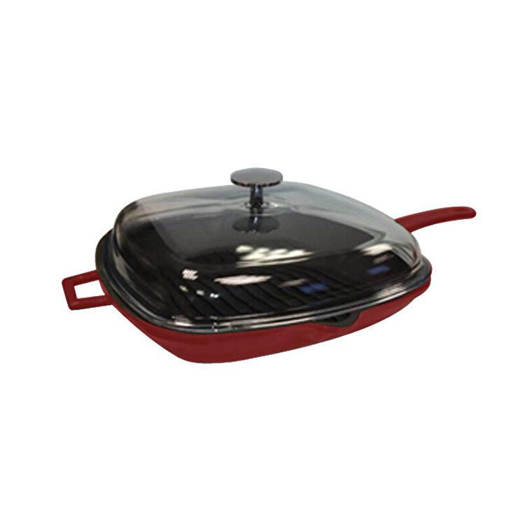 "Tigaie grill cu capac ""Glaze"", Lava, 26 x 26 cm, LVPGT2626K3R, fonta, Rosu imagine"