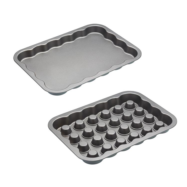 Set 2 tavi pentru prajituri umplute, Kitchen Craft, 40 x 29 x 6.7 cm, SDIFILLTRAY, otel-carbon, Gri imagine