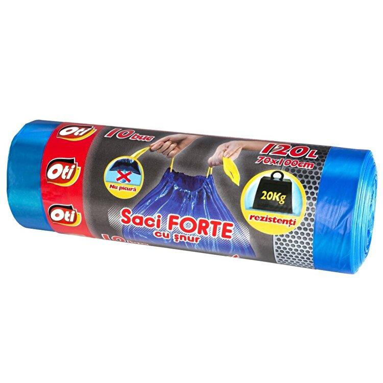 Saci menaj OTI, FORTE cu snur 120 L, 10 buc./rola, Albastru imagine