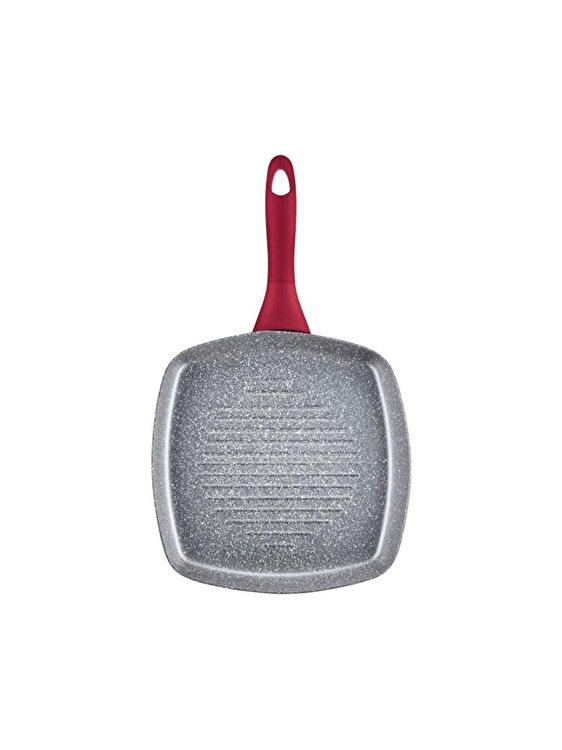 Tigaie grill, Ambition, 26 cm, acoperire Qualum Basic Jasper, 20158, aluminiu, Rosu imagine