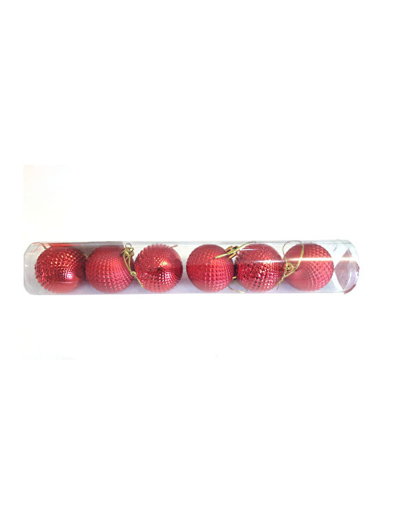 Set 6 globuri, Mercury, model 3, 5 cm, 69191_3, PVC, Rosu poza