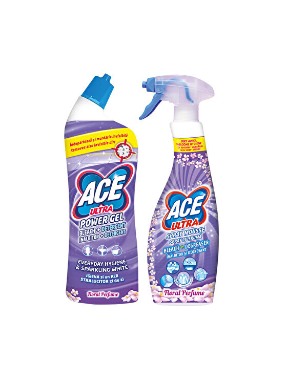 Pachet curatenie Inalbitor si degresant Ace Power Gel Floral 750 ml + Inalbitor si degresant Ace Spray Floral 700 ml