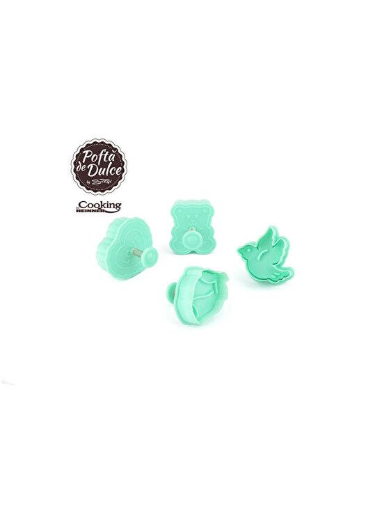 Set 4 forme biscuiti Happy Simona Pope, Heinner, HR-AZ-6252NC, 6 cm, Albastru