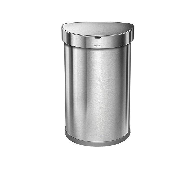 Cos de gunoi semi-rotund cu senzor, SimpleHuman, 45 L, ST2009, inox, Argintiu