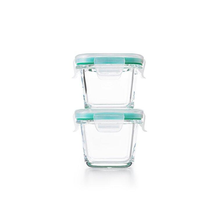 Set caserole 4 piese, OXO, 118 ml, 11230300, sticla, Albastru imagine
