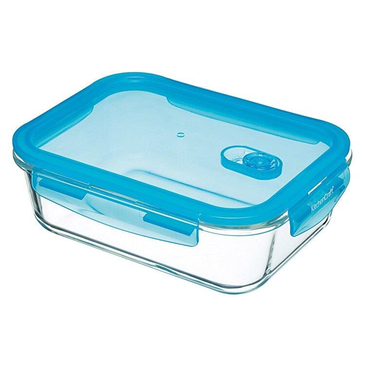 Caserola dreptunghiulara cu capac, Kitchen Craft, 1.8 L, KCGLSSTOR07, sticla, Albastru imagine