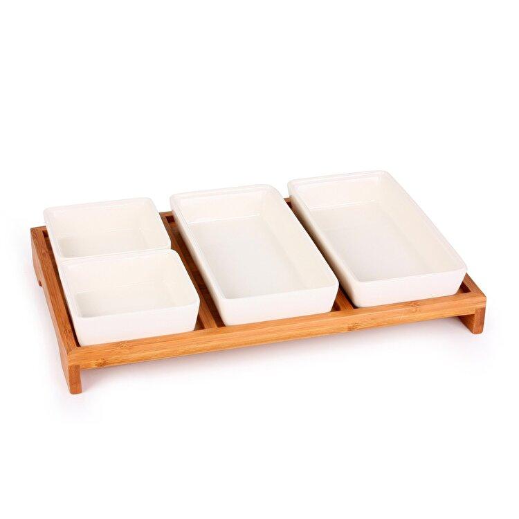 Set servire sosuri/aperitive, Zokura, 5 piese, 31.8 x 20.5 cm, ceramica, Alb imagine