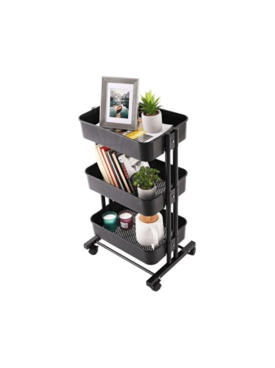 Carucior multifunctional Dobby, UnicSpot, 45 x 37 x 77 cm, Negru imagine 2021