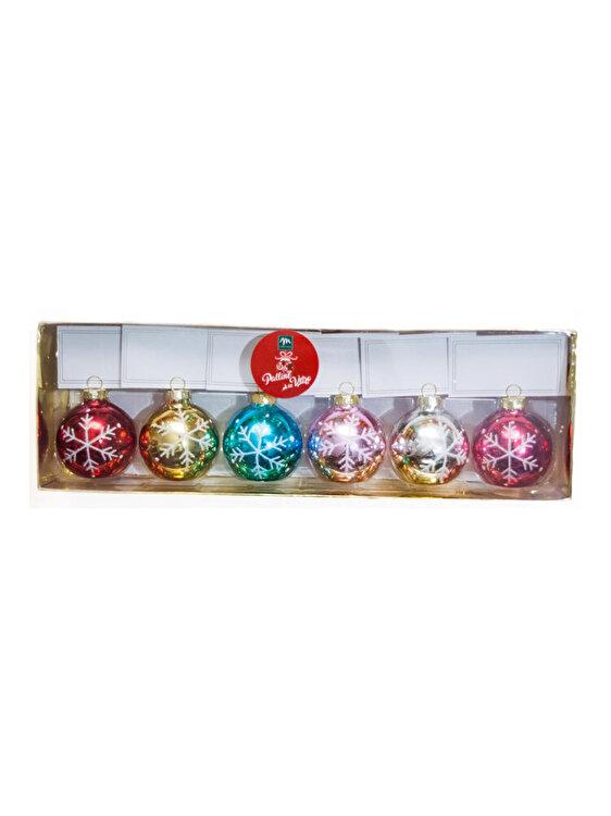 Set 6 globuri, Mercury, 4 cm, imprimeu fulg, 49711_1, sticla, Multicolor imagine
