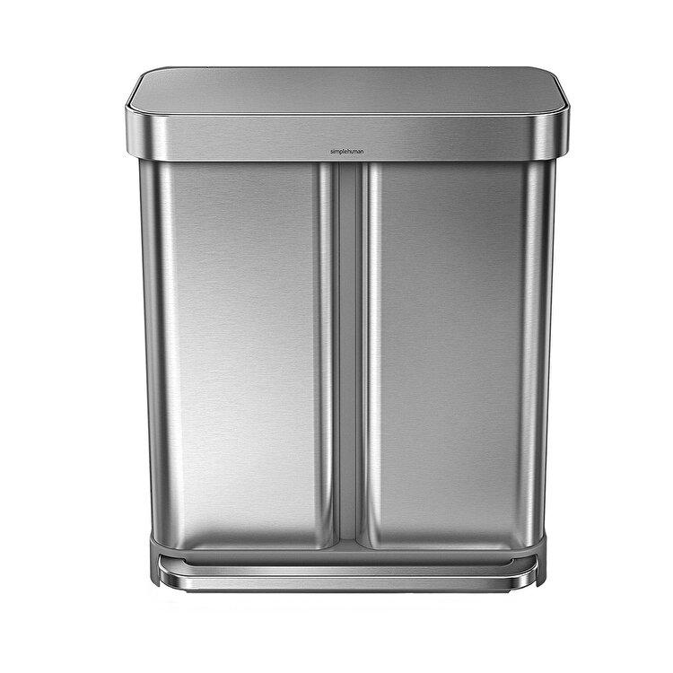 Cos de gunoi dublu compartimentat cu pedala, SimpleHuman, 58 L, CW2025, inox, Argintiu imagine 2021