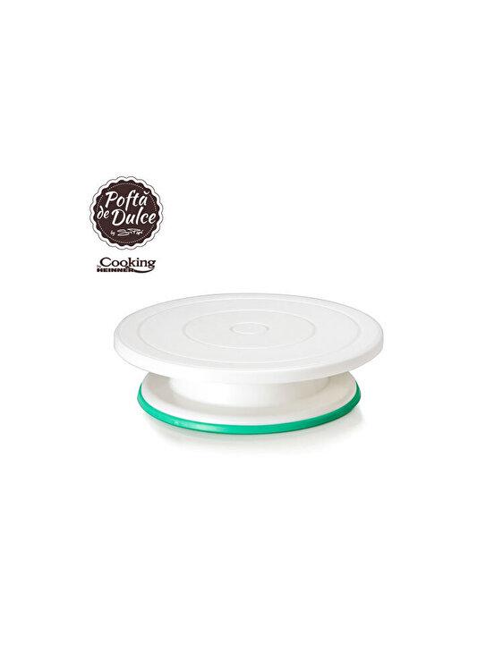 Platou rotativ pentru ornare tort Simona Pope, Heinner, HR-AER-G2019, 28 cm, plastic, Alb imagine