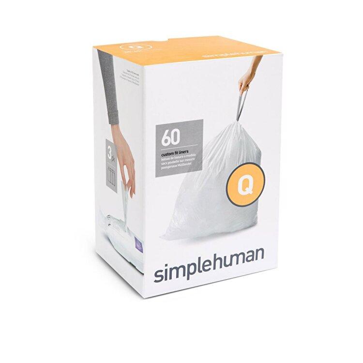 Saci de gunoi cod Q x 60 buc., SimpleHuman, 50-65 L, CW0264, plastic, Alb imagine