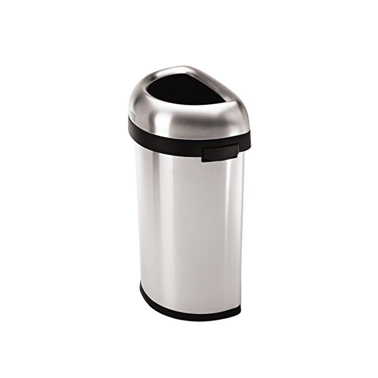 Cos de gunoi semi-rotund, SimpleHuman, 60 L, CW1468, inox, Argintiu