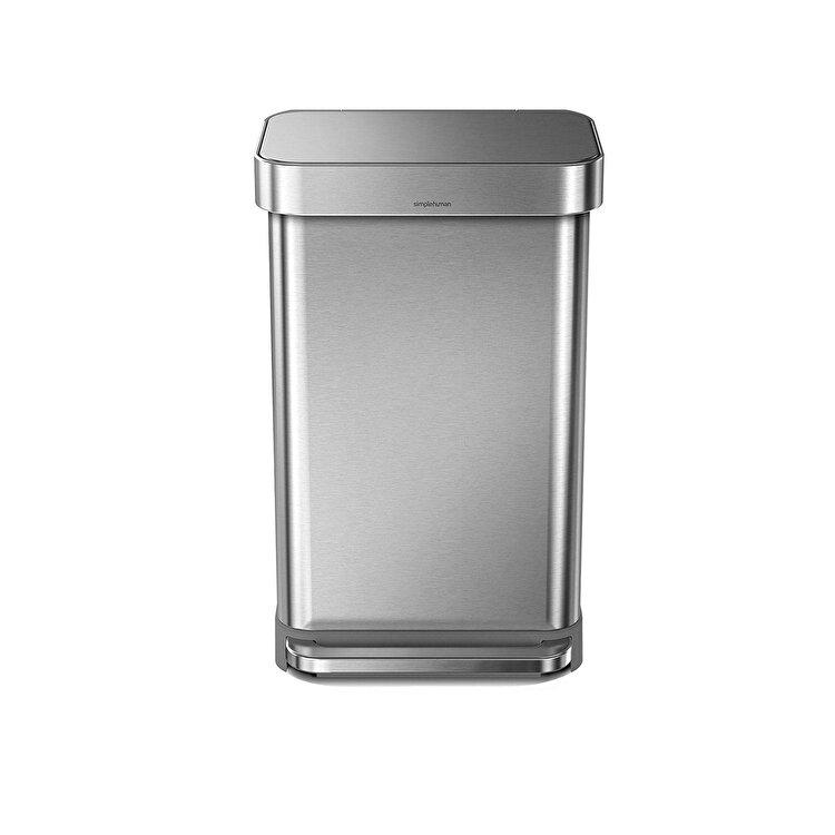 Cos de gunoi cu pedala, SimpleHuman, 45 L, CW2024, inox, Argintiu