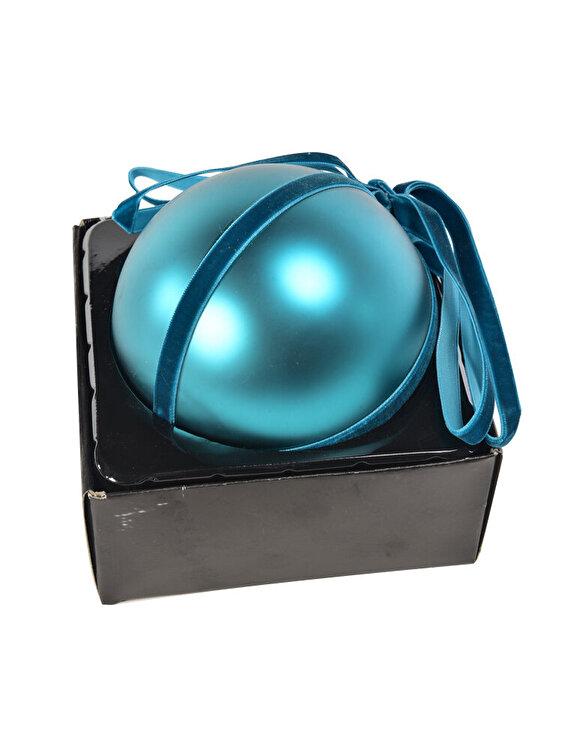 Glob Mercury, cu panglica, 12 cm, 58942, sticla, Turcoaz imagine