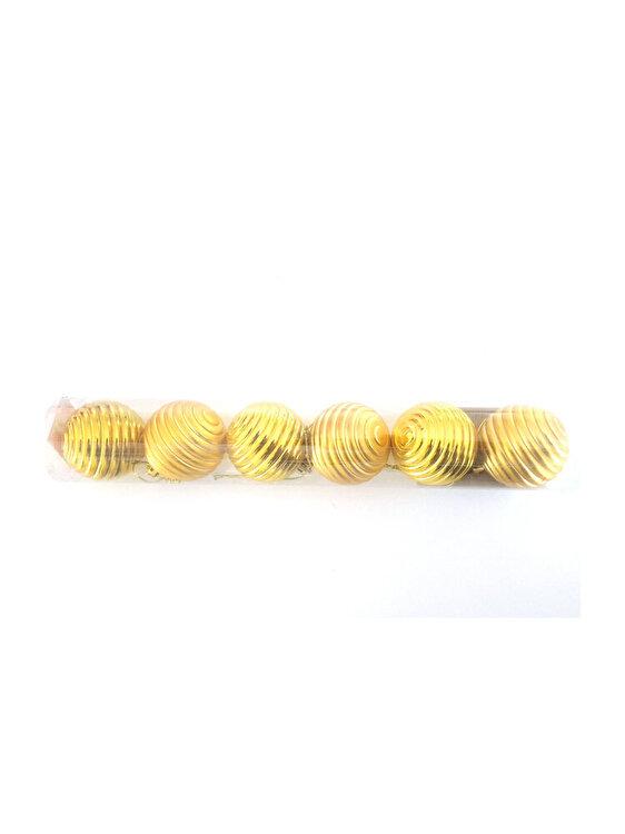 Set 6 globuri, Mercury, model 1, 5 cm, 69184_1, PVC, Auriu poza