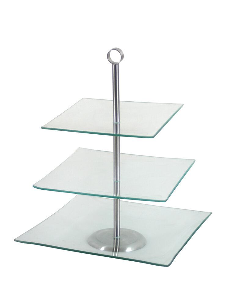 Suport cu trei niveluri, pentru prajituri - Laura, 37 cm