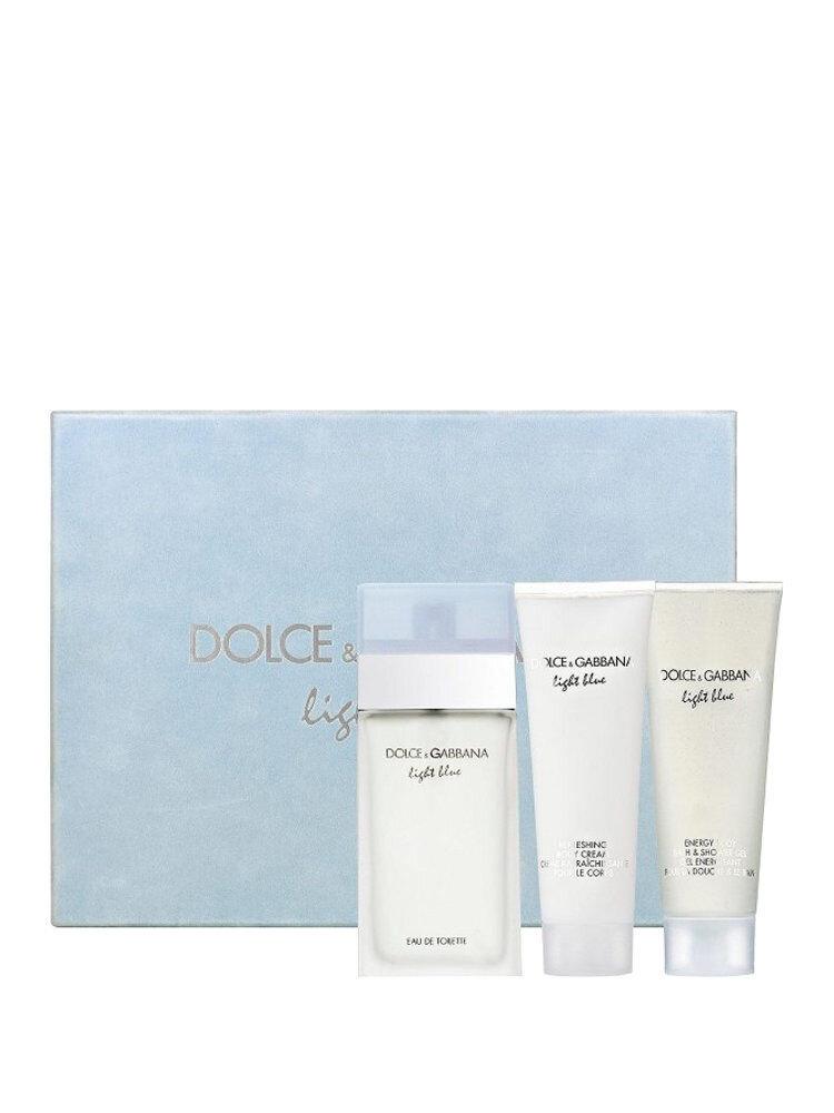 Set cadou Dolce & Gabbana Light Blue ( Apa de toaleta 100 ml + Lotiune de corp 100 ml + Gel de dus 100 ml), pentru femei