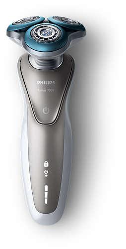 Aparat de ras Philips S7510/41, Lame duble Super Lift & Cut, Sistem GentlePrecisio, LED, Acumulator, 3 capete, Rotire Dynamic Flex in 5 directii, Trimmer, Husa calatorie, Alb