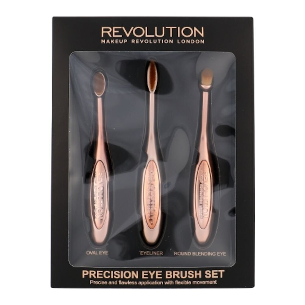 Set Precision Eye Brush Kit (Pensula cosmetice pentru umbre ochi 1 pc rotunda + Pensula cosmetice pentru umbre ochi 1 pc ovala + Eyeliner 1 pc), pentru femei