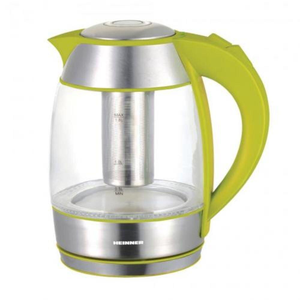 Fierbator Heinner Cu Filtru De Ceai, 1.8L, Verde, Sticla
