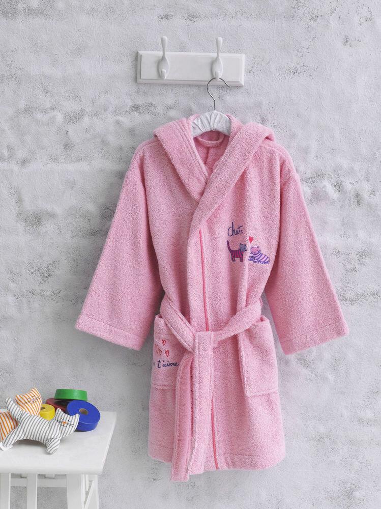 Halat de baie copii, Marie Claire-Chats, roz, 100% bumbac