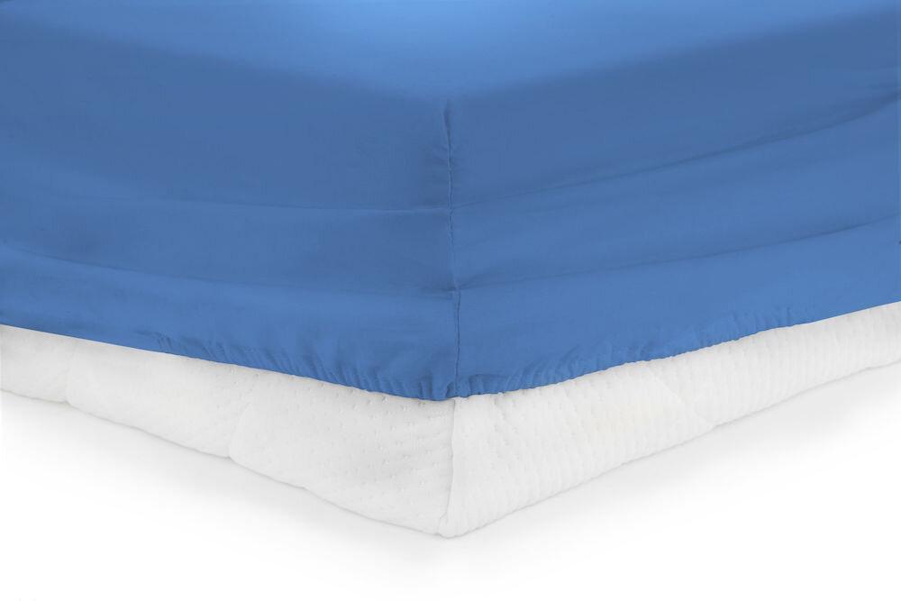 Cearceaf de pat cu elastic, Heinner, HR-ZSHEET-160BLUE, 160x200 cm, bumbac