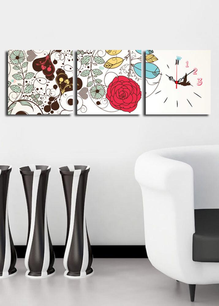 Tablou decorativ canvas cu ceas (3 Piese)Clock Art