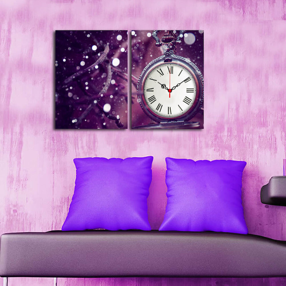 Tablou decorativ canvas cu ceas (2 Piese)Clockity