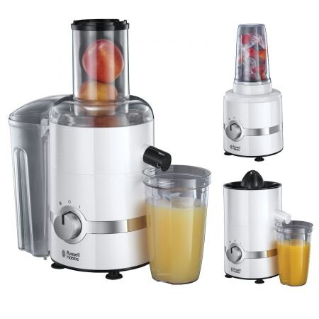 Storcator de fructe, legume si citrice + Blender Russell Hobbs Ultimate 3-in-1 22700-56, 800 W, Recipient suc si Blender 700 ml, Tub de alimentare 75 mm, Alb/Inox.