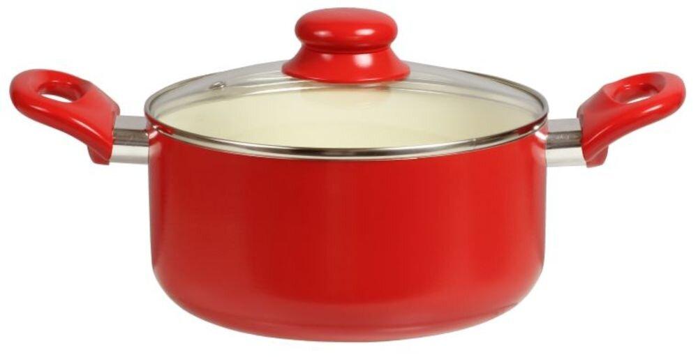 Oala cu capac Domotti, 34122, Ceramica, 20 cm, rosu