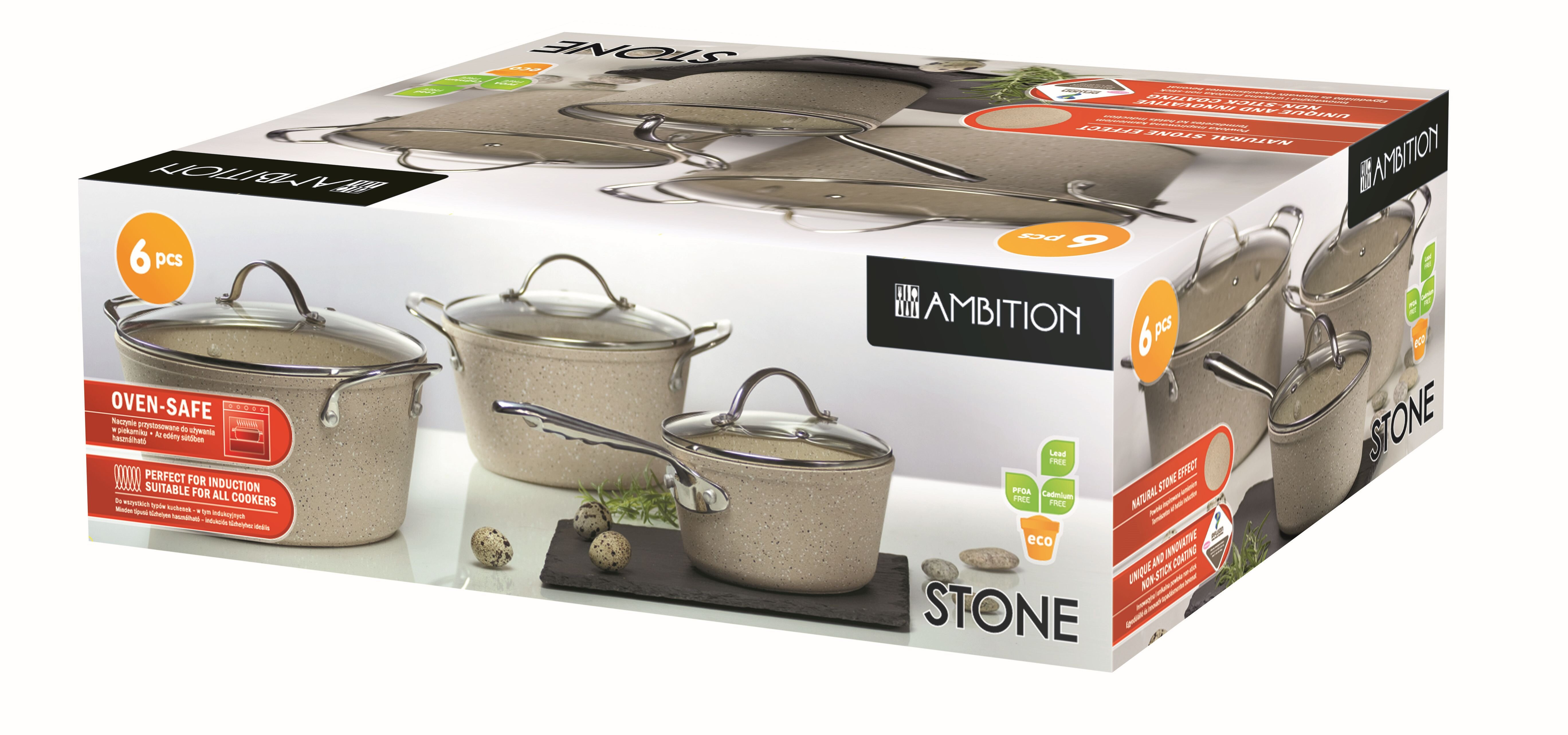 Set oale cu capac Ambition, 34072, capac sticla, Invelis Stone Effect, 6 Piese, Bej