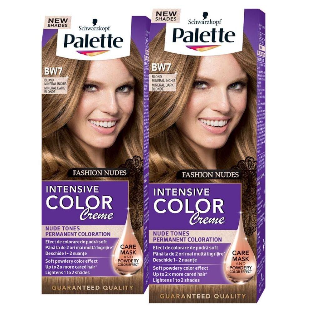 Set promo 2 x Vopsea de par Intensive Color Creme, nuanta Blond Mineral Inchis BW7 110 ml