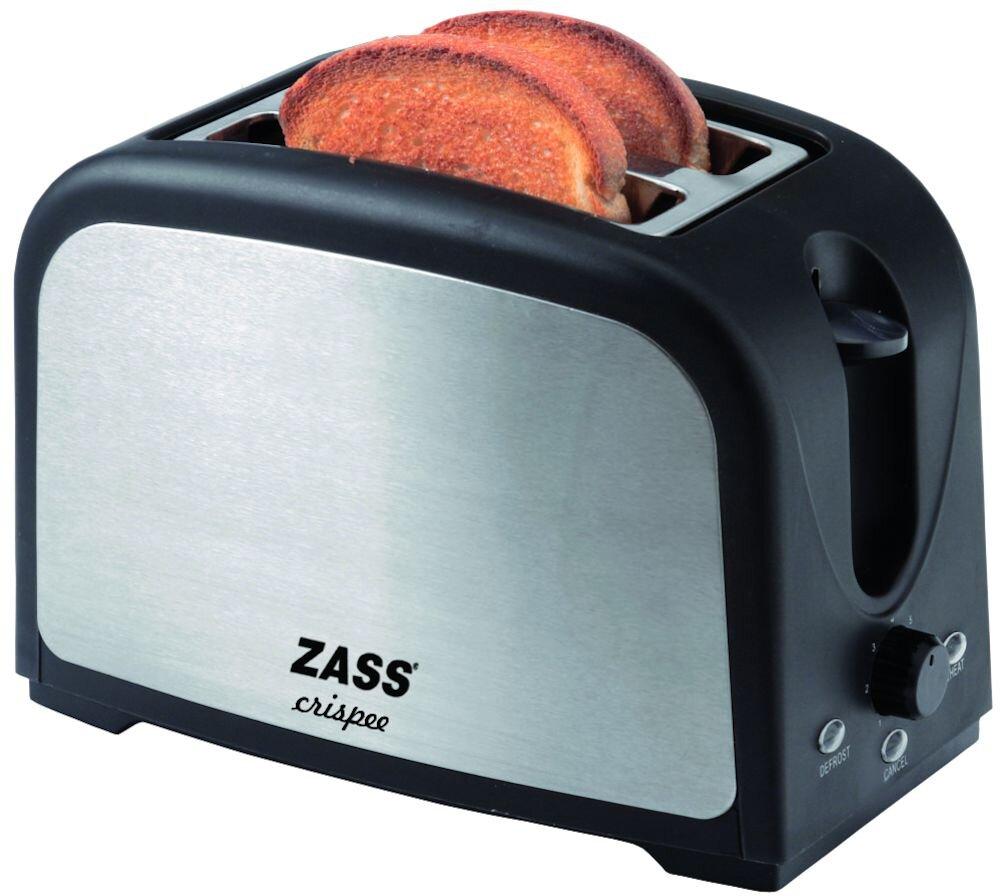 Prajitor de paine Zass ZST 02, 750W, 2 felii, Tavita frimituri, Finisaj inox