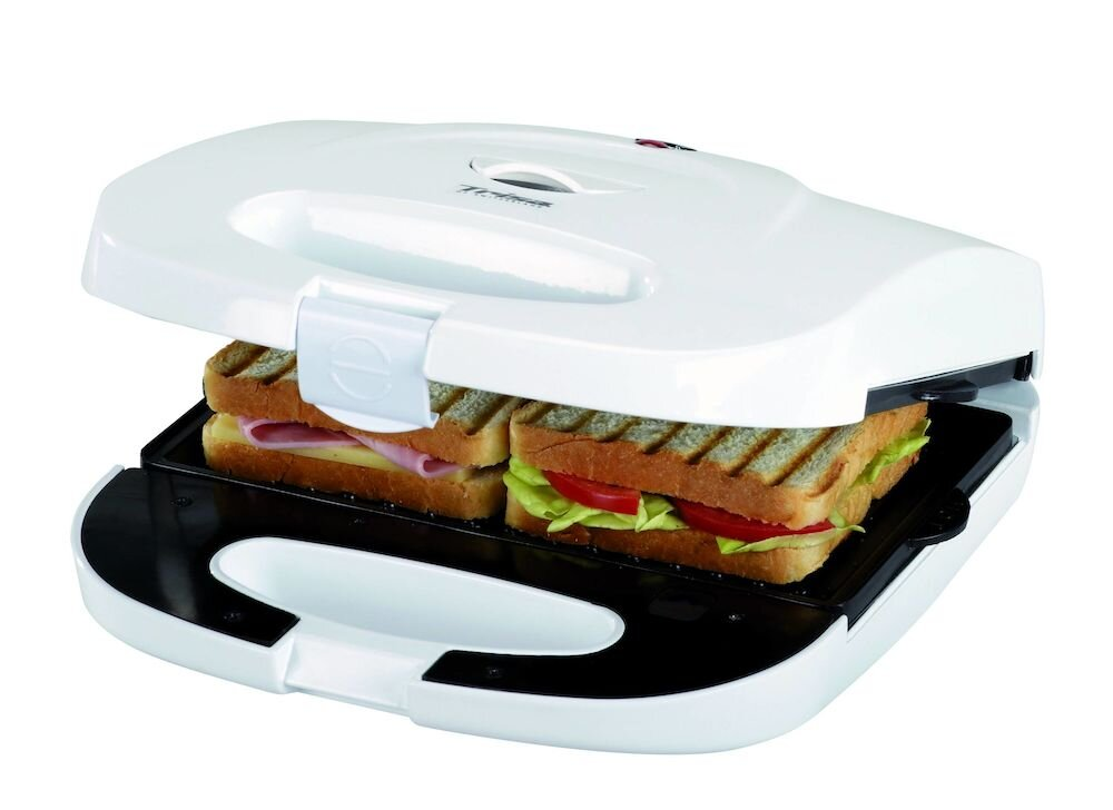 Sandwich maker Trisa Best Snack 7334.70, Putere 750 W, Placi grill si vafe, Alb