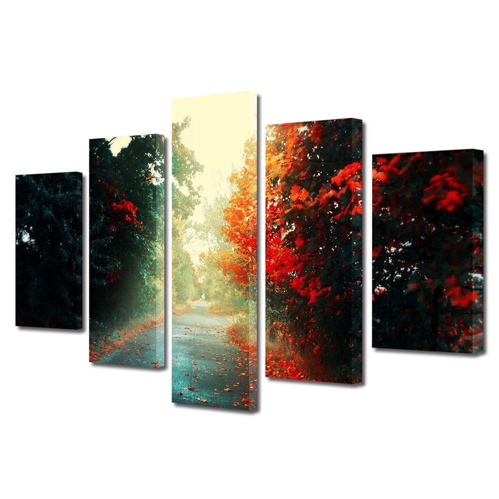 Set Tablouri Multicanvas 5 Piese Peisaje Printre copaci