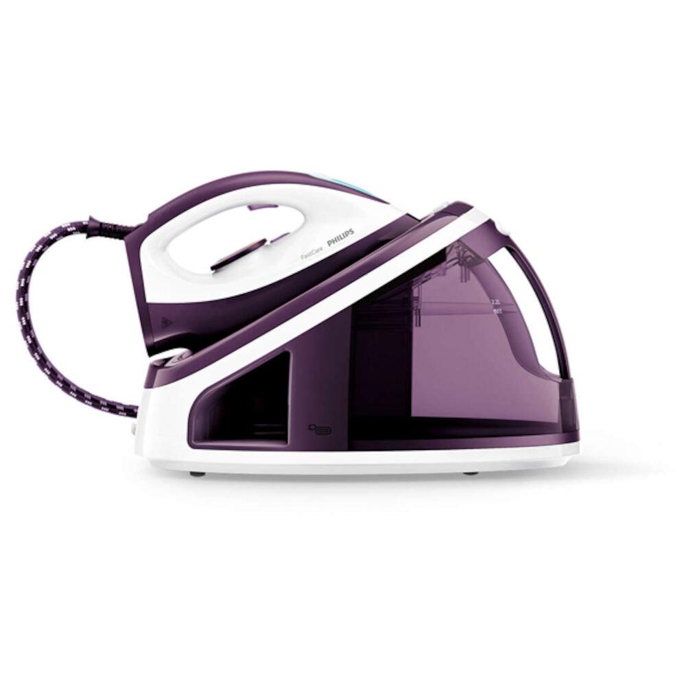 Statie de calcat PHILIPS FastCare GC7705/30, talpa SteamGlide ceramic, 2.2l, 120g/min, 2400W, violet