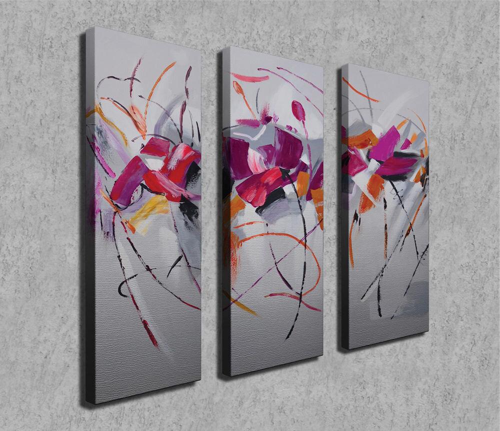 Tablou decorativ pe panza Symphony, 762SYM4273, 3 Piese, panza