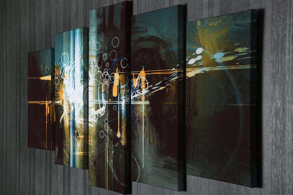 Tablou decorativ pe panza Majestic, 257MJS3297, 5 Piese, panza