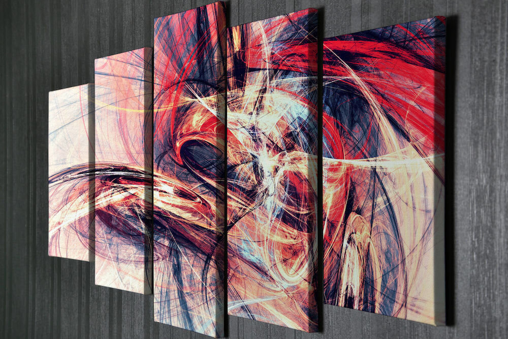 Tablou decorativ pe panza Majestic, 257MJS3298, 5 Piese, panza